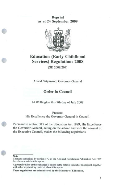 Education (Early Childhood) Services Regulations 2008 inc. amendments